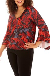 Rebel Wilson X Angels Plus Size Women's Bell Sleeve Top Ruby Rock