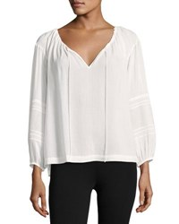 Vince Wide Sleeve Lace Inset Blouse Black