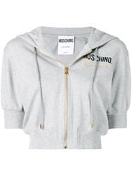 Moschino Couture Embroidery Cropped Hoodie Grey