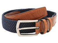 Torino Leather Co. 32Mm Italian Woven Multi Cotton Elastic Navy Men's Belts