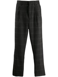 Ann Demeulemeester Herringbone Wool Trousers Grey