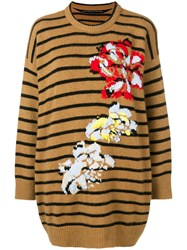 Ermanno Scervino Striped Loose Sweater Brown
