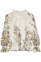 Giambattista Valli Crochet Paneled Printed Silk Chiffon Blouse Cream