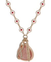Lonna And Lilly Gold Tone Stone Evil Eye Charm Pendant Necklace 32 3 Extender Rose