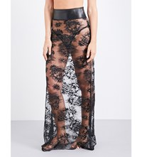 Loveday London Demetrius Floral Lace And Leather Maxi Skirt Black