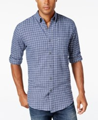 John Ashford Men's Long Sleeve Check Shirt Only At Macy's Navy Blue