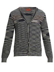 Missoni Striped Intarsia Cotton Knit Cardigan Navy Multi