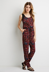 Forever 21 Drawstring Tribal Print Jumpsuit Red Black