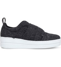 Kurt Geiger Labelle Woven Flatform Trainers Grey