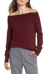 Treasure And Bond Off The Shoulder Sweater Red Tannin