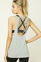 Forever 21 Active Ladder Cutout Tank Heather Grey