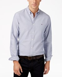 Tommy Hilfiger Men's New England Solid Oxford Shirt Wellsley Blue