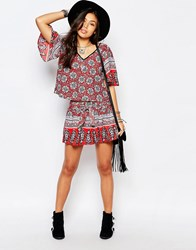 Band Of Gypsies Bow Tie Shorts With Mixed Print Red