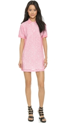 Msgm Lace Polo Dress Bright Pink