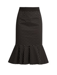 Dolce And Gabbana Polka Dot Print Stretch Cotton Midi Skirt Black White