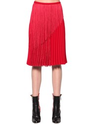 Marco De Vincenzo Fringed Pleated Cady Midi Skirt Red