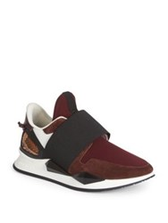 Givenchy Active Suede And Python Slip On Sneakers Burgundy