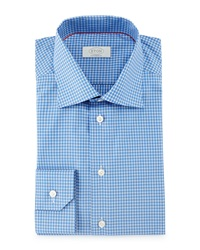 Eton Contemporary Fit Saturated Check Dress Shirt Blue