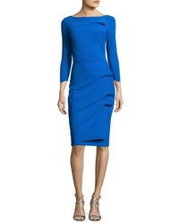 La Petite Robe Di Chiara Boni Rhea 3 4 Sleeve Ruched Cocktail Dress Blue Klein