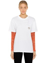 Coliac Pierced Jersey T Shirt W Mesh Sleeves White Orange