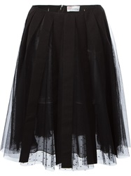 Red Valentino Embroidered Tulle Layered Skirt Black
