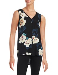 Lord And Taylor Petite Tropical Print Blouse Moonless Night