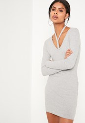 Missguided Grey Harness Neck Long Sleeve Bodycon Dress