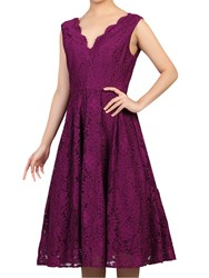 Jolie Moi Scalloped V Neck Lace Dress Dark Purple