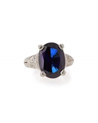 Judith Ripka Estate Blue Corundum And Sapphire Cocktail Ring
