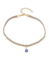 Nadri Crystal Pendant Leather Layered Necklace Gold