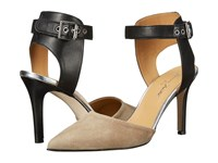 Massimo Matteo Pump With Ankle Strap Black Leather Lava Suede High Heels Beige