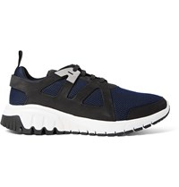 Neil Barrett Molecular Runner Nubuck And Mesh Sneakers Blue
