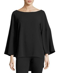 Halston Flounce Sleeve Boatneck Tunic Top Black