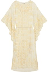 Miguelina Olivia Broderie Anglaise Cotton Blend Midi Dress Cream