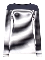 Barbour Staithes Stripe And Plain Body Panelled Top Navy