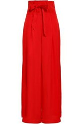 Paper London Bow Detailed Crepe Satin Wide Leg Pants Red