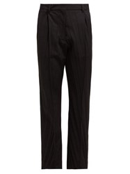 Valentino Pressed Wool Blend Tailored Trousers Black