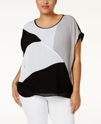 Ny Collection Plus Size Pleated Colorblocked Top Onyx Mix