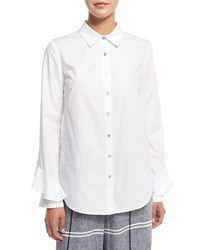 Suno Long Sleeve Poplin Ruffle Trim Blouse White