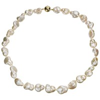 A B Davis Cultured River Baroque Pearl Necklace White