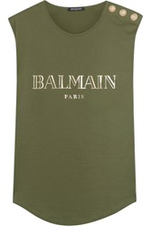 Balmain Button Embellished Printed Cotton Jersey Top Army Green