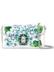 Dolce And Gabbana Floral Print Clutch Women Calf Leather Lamb Skin Metal One Size Metallic