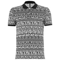 Versus By Versace Versus Versace Men's All Over Pattern Polo Shirt White Black