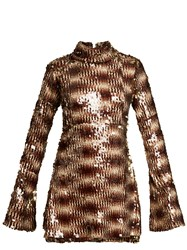 Halpern Sequin Embellished High Neck Flared Sleeve Dress Animal