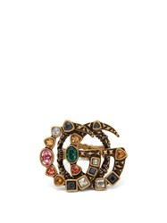 Gucci Gg Crystal Embellished Ring Multi