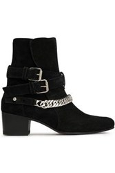 Amiri Woman Buckle Detailed Chain Trimmed Suede Ankle Boots Black