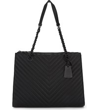 Aldo Katty Quilted Faux Leather Tote Black Leather