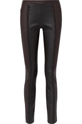 Haider Ackermann Braid Trimmed Leather Skinny Pants Black
