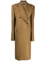 Y Project Double Breasted Overcoat Brown