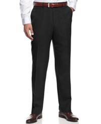 Louis Raphael Dress Pants Comfort Stretch Wool Blend Flat Front Black